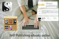A digital banner montage of images of self-publishing logos and screenshots.