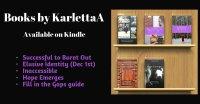 A digital banner listing five ebooks by Karletta Abianac