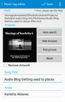 A screenshot of my app Star Music Tag Editor. There is a place to change an mp3 file's image, name, and insert tags like name, album, and description.