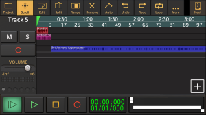 Screenshot of the audio editing app, Audio Evolution